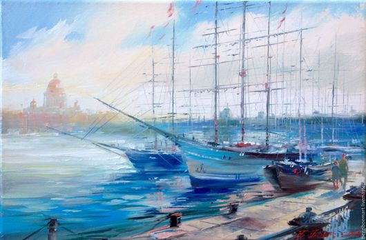 Картина,холст, масло `Корабли на Неве` 20х30 Санкт-Петербург