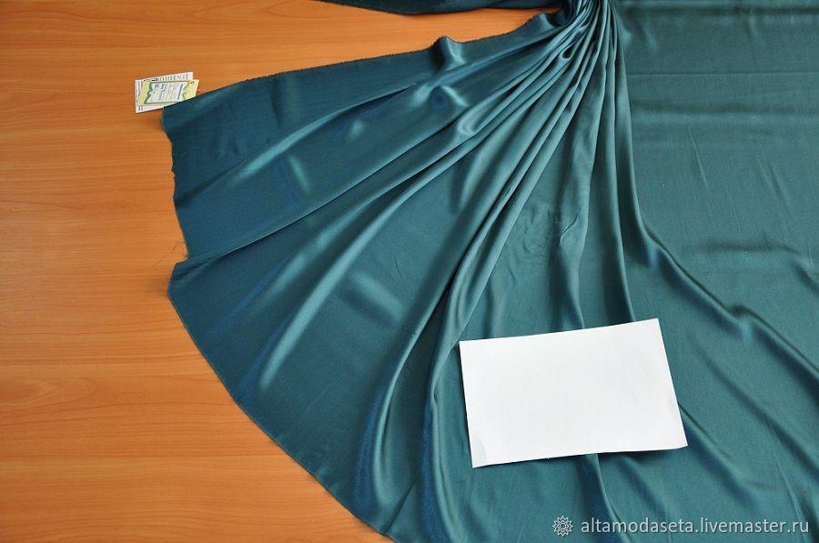 Шелк стрейч - зеленая морская волна, Ткани, Москва,  Фото №1