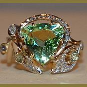 """Кольцо из золота с турмалином """"Нежность"""""""