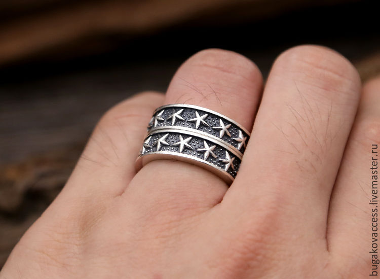 Ring with stars of silver 925, Rings, Moscow,  Фото №1