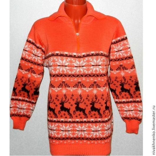 Кофты и свитера ручной работы. Ярмарка Мастеров - ручная работа. Купить Вязаный норвежский свитер с оленями (оранжевый). Handmade. Рыжий