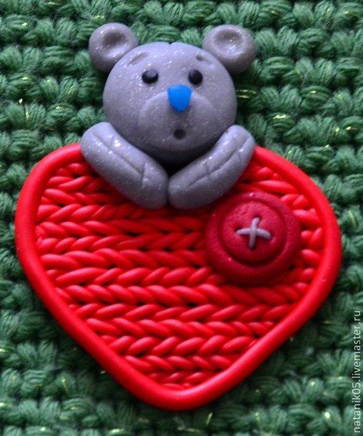 """Подарки для влюбленных ручной работы. Ярмарка Мастеров - ручная работа. Купить Магнит """"Мишка Тедди"""". Handmade. Ярко-красный"""