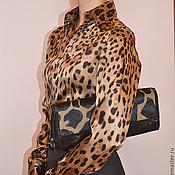 """Одежда ручной работы. Ярмарка Мастеров - ручная работа Блузка-рубашка  шелковая """"Шоколадный леопард"""". Handmade."""