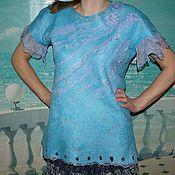 Блузки ручной работы. Ярмарка Мастеров - ручная работа Блузка валяная на шелке. Handmade.