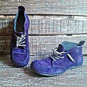 Обувь ручной работы. Ярмарка Мастеров - ручная работа Замшевые ботинки OMG фиолетовые. Handmade.