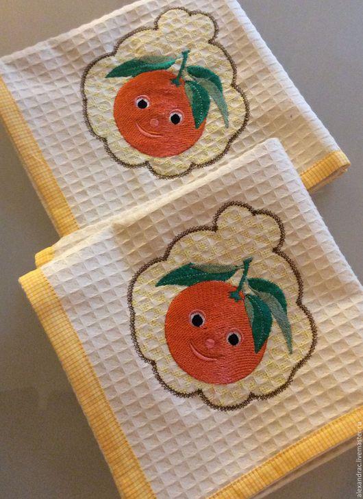 """Текстиль, ковры ручной работы. Ярмарка Мастеров - ручная работа. Купить Салфетка """"Апельсиновое настроение"""". Handmade. Кремовый, вышитый апельсин"""