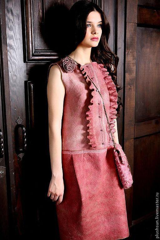 Платья ручной работы. Ярмарка Мастеров - ручная работа. Купить Валяное платье «Утро в Париже». Handmade. Розовый