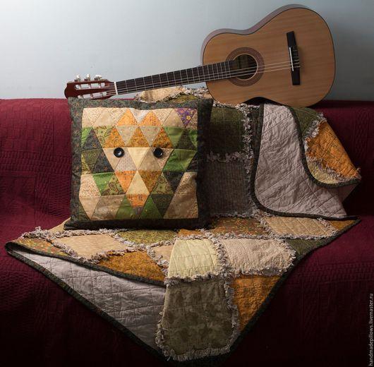 """Текстиль, ковры ручной работы. Ярмарка Мастеров - ручная работа. Купить Квилт и подушка """"Найди лисичку"""". Handmade. Покрывало, серый"""