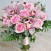 Свадебный салон ручной работы. Ярмарка Мастеров - ручная работа Розовый букет невесты с орхидеей и розами. Handmade.