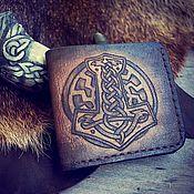 Кошельки ручной работы. Ярмарка Мастеров - ручная работа Кошелек из натуральной кожи Молот Тора бумажник кожаный мужской. Handmade.