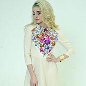 """Dresses handmade. Livemaster - original item Платье летнее короткое, бежевое платье """"Сад души"""". Handmade."""