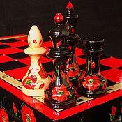 """Сувениры и подарки ручной работы. Ярмарка Мастеров - ручная работа шахматы  подарочные красно-чёрные большие  """"Маки на чёрном"""". Handmade."""