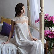 Одежда ручной работы. Ярмарка Мастеров - ручная работа Шелковая ночная сорочка. F-2. Handmade.