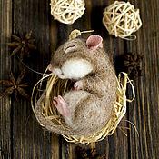 Куклы и игрушки ручной работы. Ярмарка Мастеров - ручная работа Сонный мышонок.. Handmade.