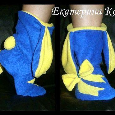 Обувь ручной работы. Ярмарка Мастеров - ручная работа Домашние тапочки-зайчики. Handmade.