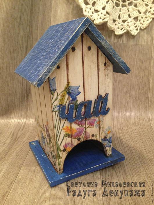Кухня ручной работы. Ярмарка Мастеров - ручная работа. Купить чайный домик Полевые цветы хранение чая декупаж. Handmade.
