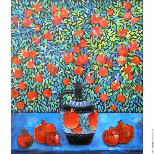Натюрморт ручной работы. Ярмарка Мастеров - ручная работа. Купить Картина натюрморт с гранатами. Handmade. Картина маслом, натюрморт с фруктами