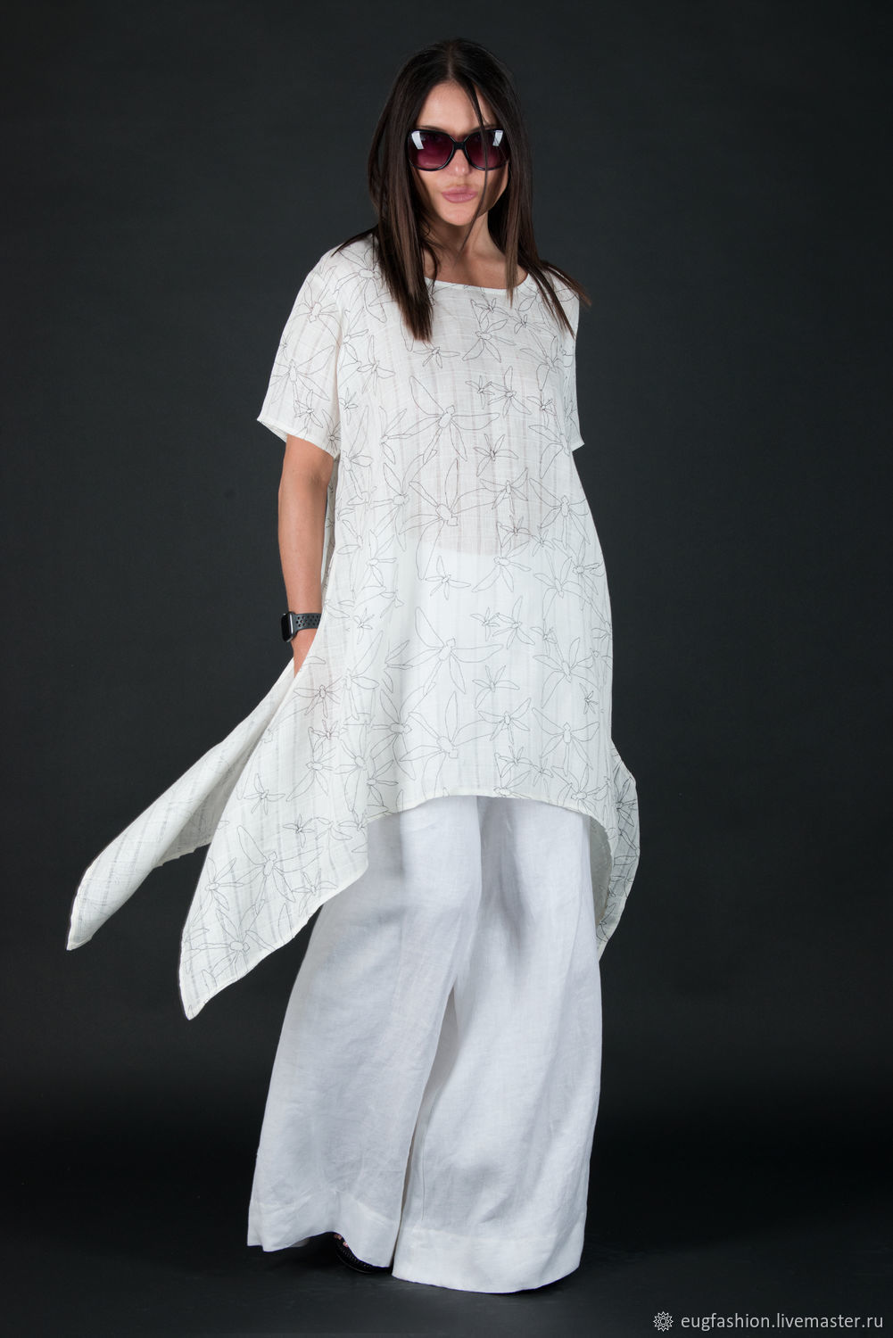 White linen suit, wide trousers and loose top - SE0315LE, Suits, Sofia,  Фото №1
