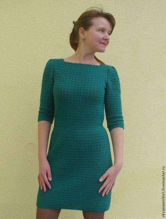 Платья ручной работы. Ярмарка Мастеров - ручная работа. Купить Винтажное платье. Handmade. Зеленый, зимняя мода, полушерстяная пряжа