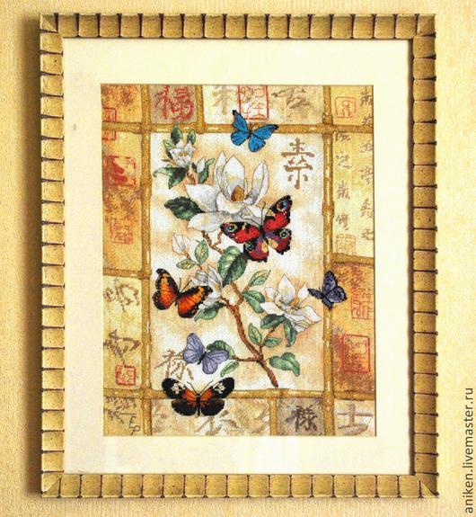 """Абстракция ручной работы. Ярмарка Мастеров - ручная работа. Купить Вышивка крестом """" Бабочки в японском стиле"""". Handmade. Желтый"""