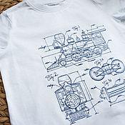 """Футболки ручной работы. Ярмарка Мастеров - ручная работа Футболка детская, женская, мужская с вышивкой """"Поезд"""". Handmade."""