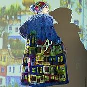 """Одежда ручной работы. Ярмарка Мастеров - ручная работа Пальто """"Вечерний Хундертвассер"""" в джинсовом цвете. Handmade."""