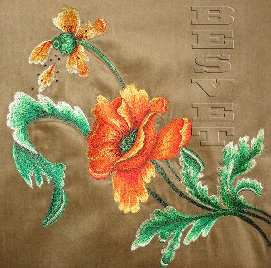 Текстиль, ковры ручной работы. Ярмарка Мастеров - ручная работа. Купить Вышивка по бархату в интерьере. Handmade. Художественная гладь, бархат