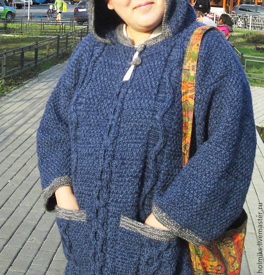 Верхняя одежда ручной работы. Ярмарка Мастеров - ручная работа. Купить Пальто вязаное с капюшоном и кармашками. Handmade. Орнамент
