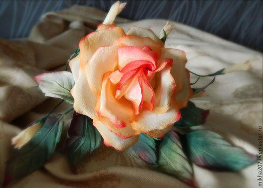 """Цветы ручной работы. Ярмарка Мастеров - ручная работа. Купить Роза из шелка """"Amore mio"""". Handmade. Розовый, Шёлк 100%"""