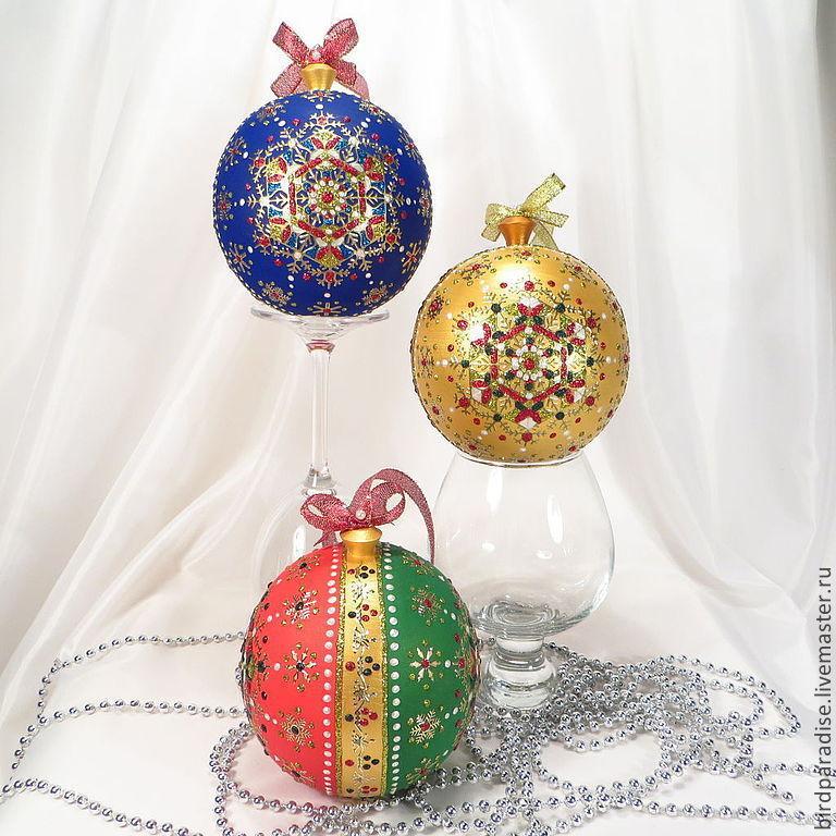 Новогодний ёлочный шар,ёлочное украшение,новогодний сувенир,подарок на новый год.\r\n1  красный-синий-золото.\r\n2 белый-золотой-тёмное золото.\r\n3 красный-зелёный-золото.