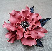 Украшения handmade. Livemaster - original item Brooch hairpin leather Scarlet Flower. Handmade.