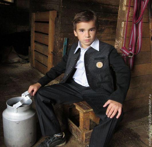 """Одежда для мальчиков, ручной работы. Ярмарка Мастеров - ручная работа. Купить Пиджак """"Слава"""". Handmade. В клеточку, школьник, уютный"""