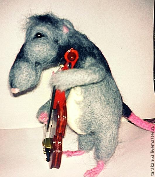 Игрушки животные, ручной работы. Ярмарка Мастеров - ручная работа. Купить Крыс музыкант. Handmade. Серый, игрушка ручной работы