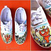 """Обувь ручной работы. Ярмарка Мастеров - ручная работа Кеды с котами """"Летний луг"""", ручная роспись. Handmade."""