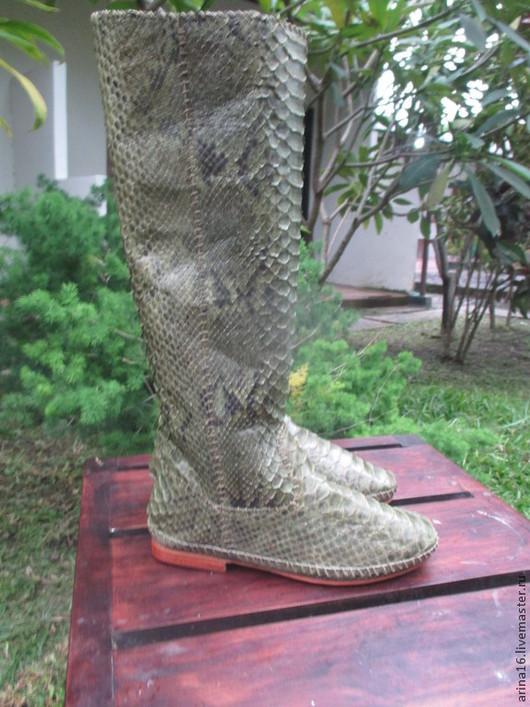 Обувь ручной работы. Ярмарка Мастеров - ручная работа. Купить сапоги Kreki 4. Handmade. Оливковый, сапоги из питона