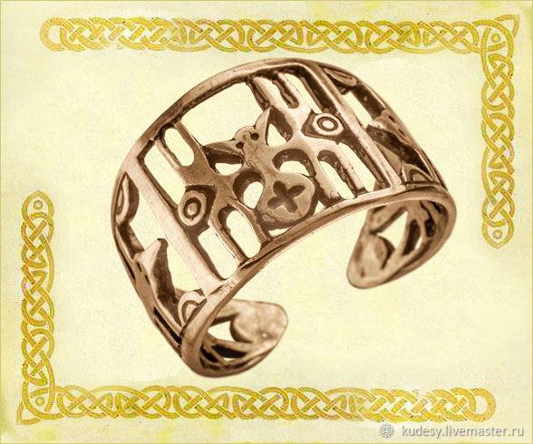 """Кольца ручной работы. Ярмарка Мастеров - ручная работа. Купить Перстень """"Паук"""". Handmade. Оберег, этно, русский стиль, желтый"""