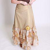 Одежда ручной работы. Ярмарка Мастеров - ручная работа Льняная юбка в пол цвета песка. Handmade.