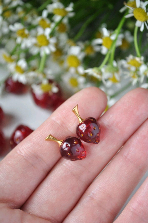 Little strawberry earring ear studs set (pinks), Stud earrings, Moscow,  Фото №1