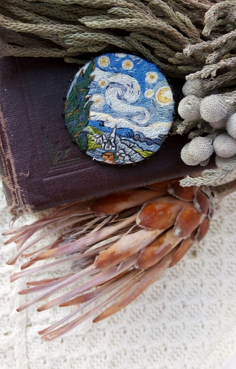 Embroidered Brooch Based On The Painting Quot The Starry Night