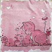 Материалы для творчества handmade. Livemaster - original item Napkin decoupage mom cat and kitten. Handmade.