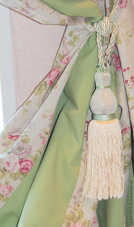 """Текстиль, ковры ручной работы. Ярмарка Мастеров - ручная работа. Купить Шторы из льна """"Натали"""". Handmade. Мятный, розы"""