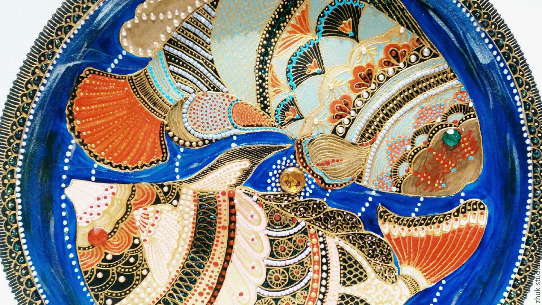 Точечная роспись золотая рыбка