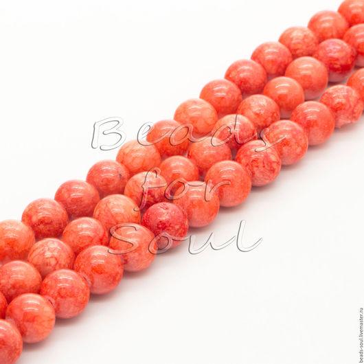 Для украшений ручной работы. Ярмарка Мастеров - ручная работа. Купить Коралл прессованный бусины шар  8мм - арт.4-17. Handmade.