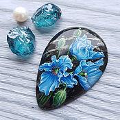 Сувениры и подарки handmade. Livemaster - original item Blue poppies on the stone - jewelry insert for jewelry. Handmade.