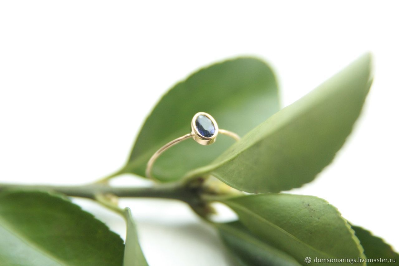 Золотое кольцо с натуральным танзанитом, Кольца, Санкт-Петербург,  Фото №1