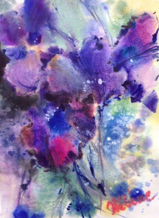 Картины цветов ручной работы. Ярмарка Мастеров - ручная работа. Купить Акварель Таинственный Фиолетовый. Handmade. Ирис, фиолетовый, цветок