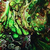 Панно ручной работы. Ярмарка Мастеров - ручная работа Панно: Картины: абстракция Зеленая роща акрил. Handmade.