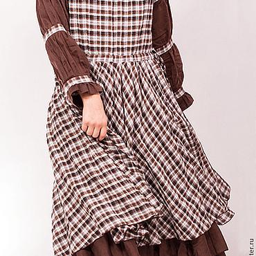 Одежда ручной работы. Ярмарка Мастеров - ручная работа Коричневое платье Бохо в клетку. Handmade.