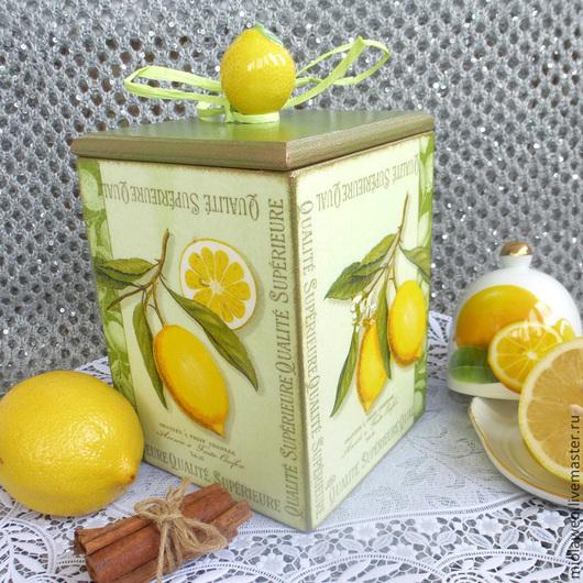 """Кухня ручной работы. Ярмарка Мастеров - ручная работа. Купить Короб для специй или полезностей  """"Лимонная свежесть"""". Handmade. Зеленый"""
