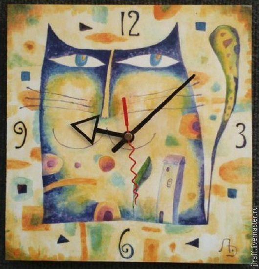 """Часы для дома ручной работы. Ярмарка Мастеров - ручная работа. Купить Часы """"Лунный кот"""". Handmade. Разноцветный, кот"""